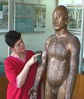picture of Maria Mercati examining bronze statue of acupuncture points